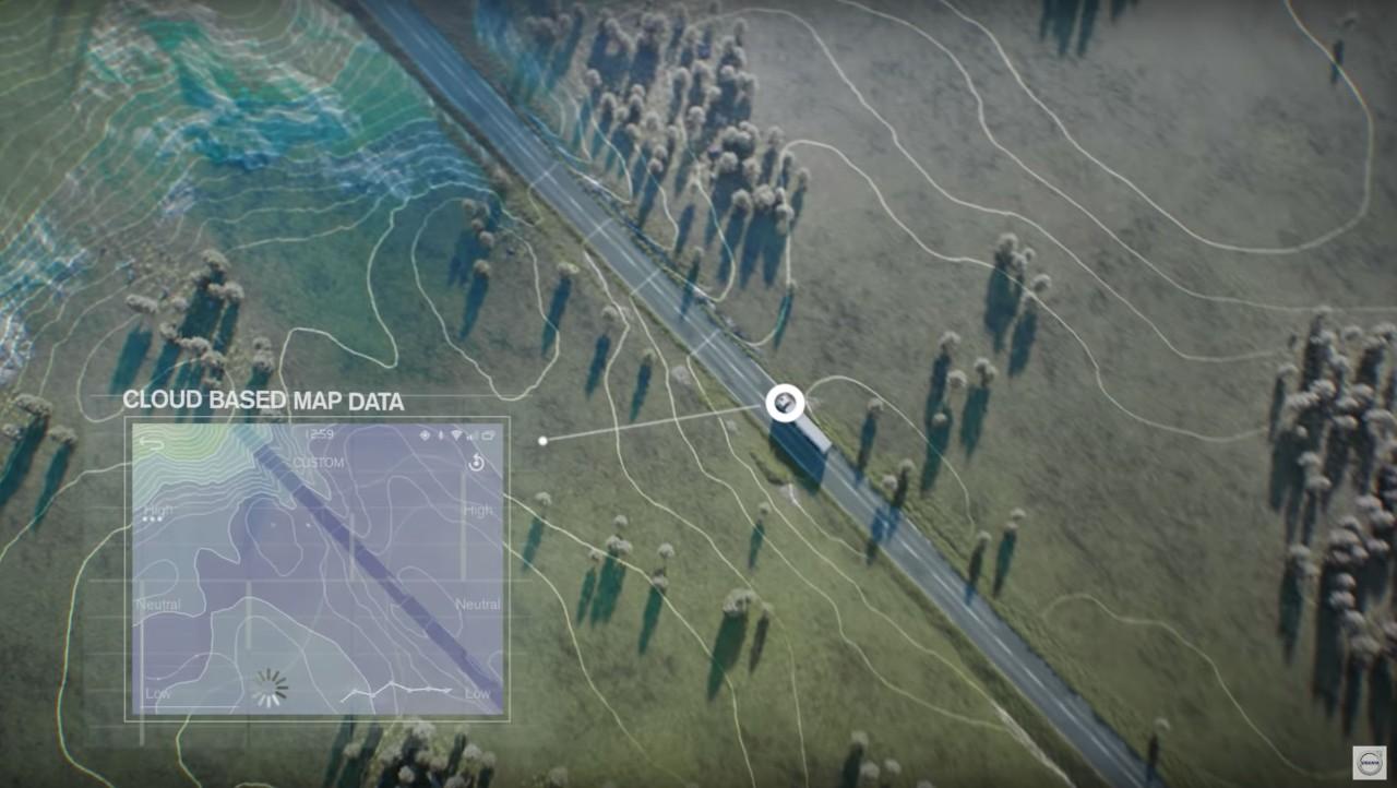 I-See pe bază de hărți analizează datele cartografice din cloud pentru topografia traseului care urmează a fi parcurs.
